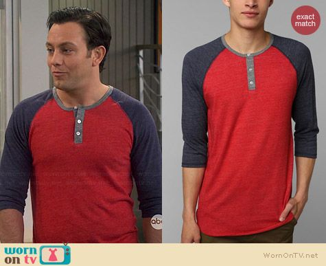 Alternative Two Tone Henley worn by Jonathan Sadowski on Young & Hungry