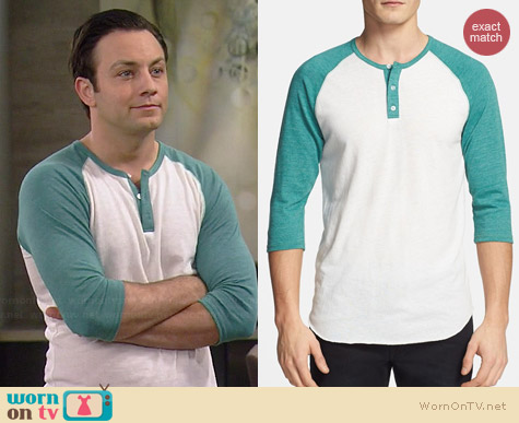 Alternative Viridian Raglan Henley worn by Jonathan Sadowski in Young & Hungry