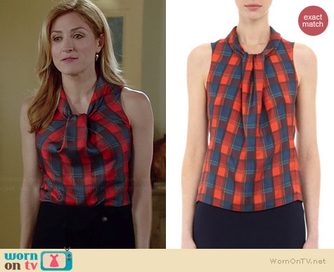Altuxarra Xanthos Check Print Blouse worn by Sasha Alexander on Rizzoli & Isles