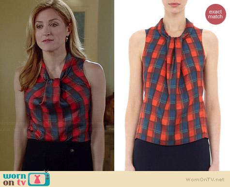 Altuxarra Xanthos Check Print Blouse worn by Sasha Alexander on Rizzoli & Isles