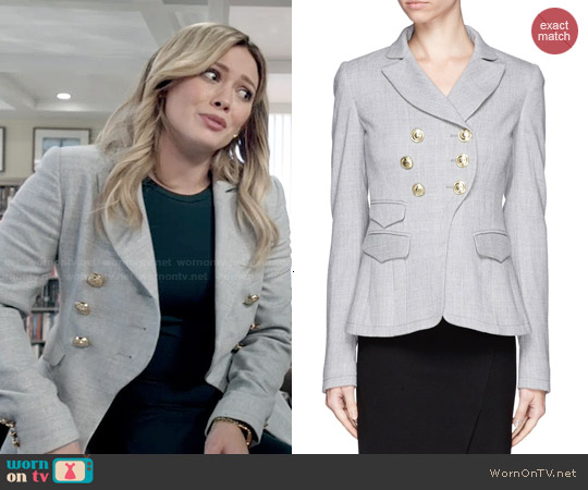 Altuzarra 'Seth' Double Breasted Wave Suiting Blazer worn by Hilary Duff on Younger