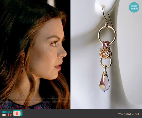 AlycenMaille Lilac Crystal 14kt Gold Filled Earrings worn by Nora on The Vampire Diaries
