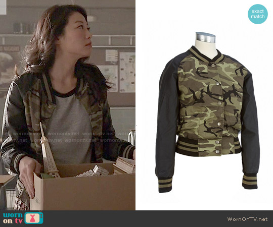Ambiance Camo Bomber Jacket worn by Arden Cho on Teen Wolf