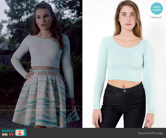 American Apparel Cotton Spandex Jersey Long Sleeve Crop Top in Menthe worn by Hester Ulrich on Scream Queens