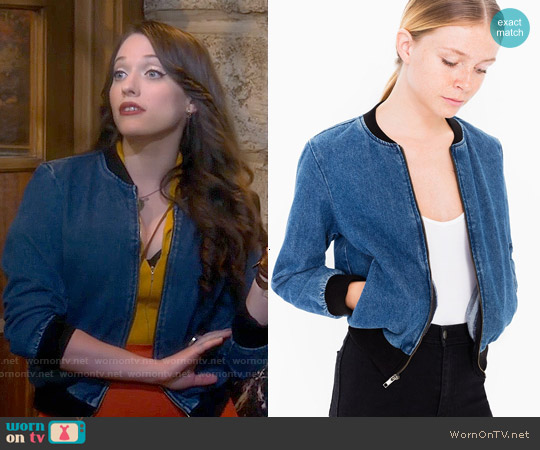 American Apparel Angeleno Denim Jacket worn by Kat Dennings on 2 Broke Girls