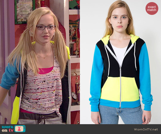 American Apparel Colorblock Hoodie in Black/Neon Yellow/Neon Blue worn by Dove Cameron on Liv & Maddie