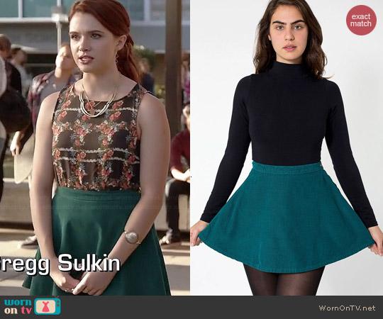 American Apparel Corduroy Circle Skirt in Dark Teal worn by Katie Stevens on Faking It