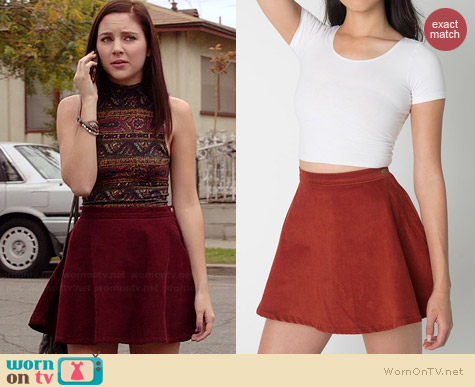 American Apparel Corduroy Circle Skirt in Paprika worn by Haley Ramm on Chasing Life
