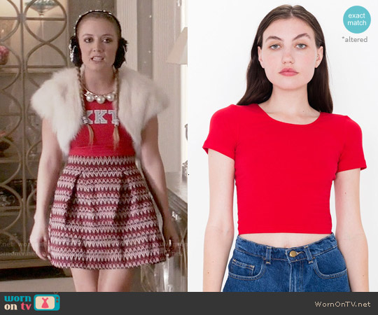 American Apparel Cotton Spandex Crop Top  in Red worn by Chanel #3 on Scream Queens