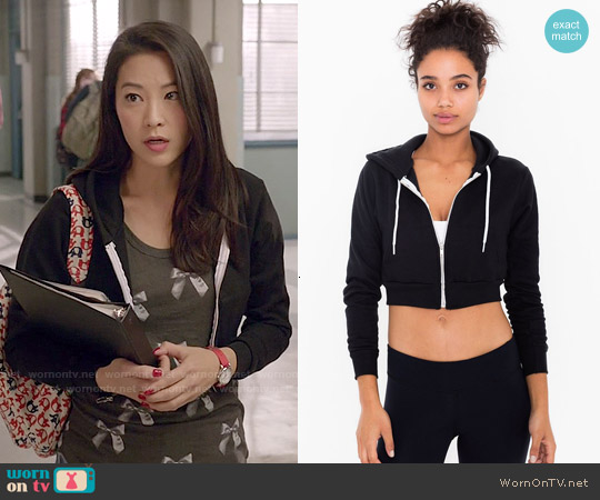 American Apparel Cropped Flex Fleece Zip Hoodie worn by Kira on Teen Wolf