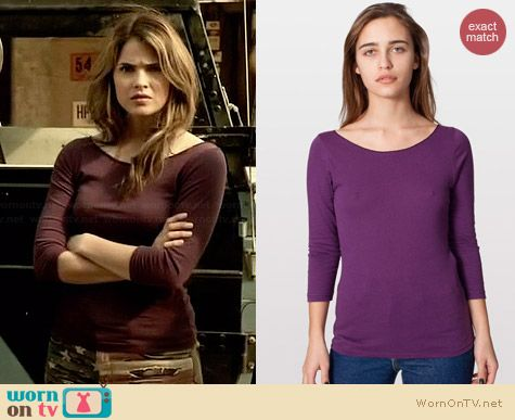 American Apparel Jersey 3/4 Sleeve Boat Neck Tee in Eggplant worn by Shelley Hennig on Teen Wolf