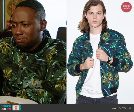 American Apparel Jungle Leaves Print Club Jacket worn by Lamorne Morris on New Girl