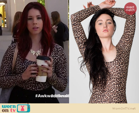 American Apparel Leopard Print Bodysuit worn by Jillian Rose Reed on Awkward