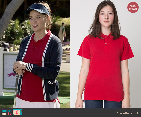 American Apparel Tennis Shirt in Red worn by Zooey Deschanel on New Girl