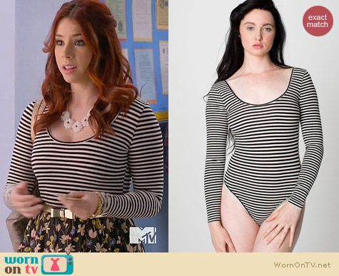 American Apparel Striped U Neck Bodysuit worn by Jillian Rose Reed on Awkward