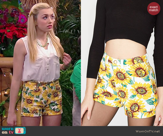 American Apparel Sunflower Print Shorts worn by Peyton List on Jessie