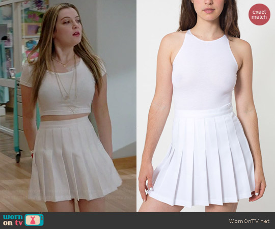 American Apparel Tennis Skirt in White worn by Zoe Levin on Red Band Society