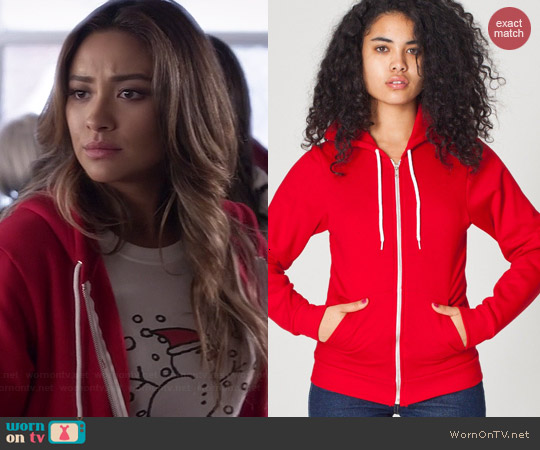 American Apparel Unisex Fleece Hoodie in Red worn by Shay Mitchell on PLL
