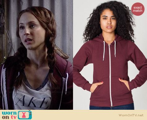 American Apparel Unisex Flex Fleece Zip Hoodie in Truffle worn by Troian Bellisario on PLL