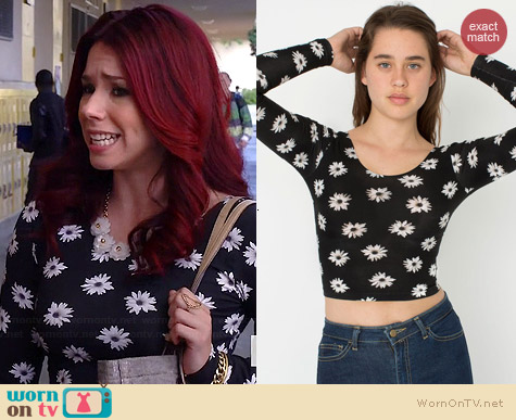 American Apparel White Black Daisy Long Sleeve Crop Top worn by Jillian Rose Reed on Awkward