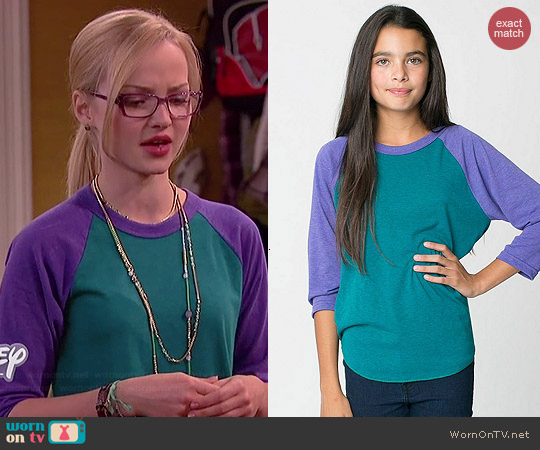 American Apparel Youth Tri-Blend Raglan Shirt in Evergreen/Orchid worn by Dove Cameron on Liv & Maddie