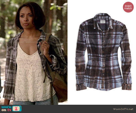 American Eagle Acid Washed Girlfriend Shirt worn by Kat Graham on The Vampire Diaries