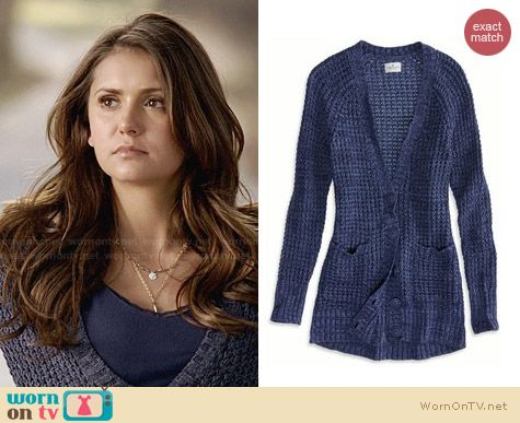 American Eagle Chunky Waffle Knit Cardigan worn by Nina Dobrev on The Vampire Diaries