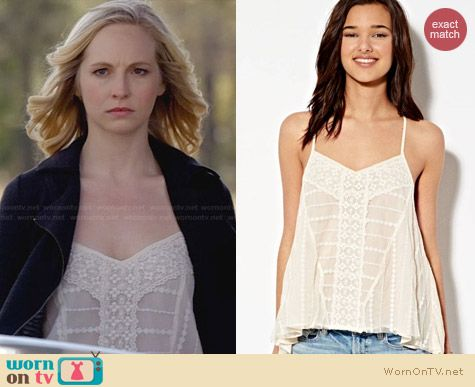 American Eagle Lace Cross Back Tank worn by Candice Accola on The Vampire Diaries