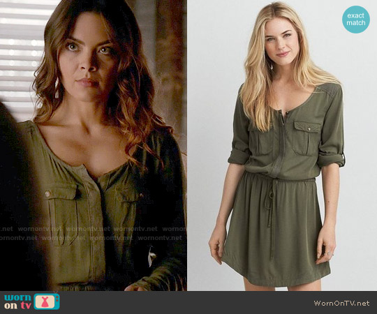 American Eagle Military Shirtdress worn by Scarlett Byrne on The Vampire Diaries