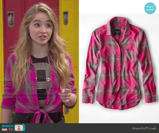 American Eagle Plaid Boyfriend Shirt worn by Sabrina Carpenter on Girl Meets World