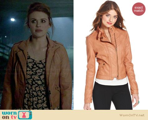 American Rag Faux Leather Moto Jacket in Apricot worn by Holland Roden on Teen Wolf