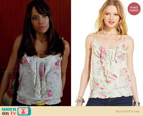 American Rag Floral Printed Ruffle Top worn by Dania Ramirez on Devious Maids