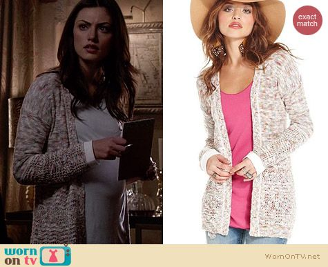 American Rag Marled Cardigan worn by Phoebe Tonkin on The Originals