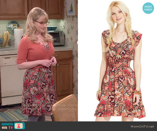 American Rag Printed Smocked Dress worn by Melissa Rauch on The Big Bang Theory