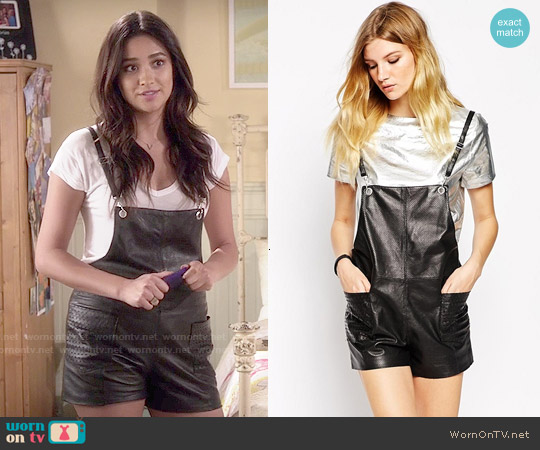 American Retro 'Gabin' Leather Short Overalls worn by Shay Mitchell on PLL