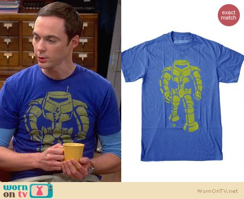 Ames Bros Man-Bot Vintage Blue Graphic Tee worn by Jim Parsons on The Big Bang Thoery