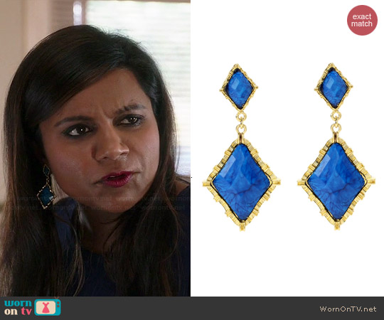 Amrita Singh Wainscott Earrings in Blue Lapis worn by Mindy Kaling on The Mindy Project