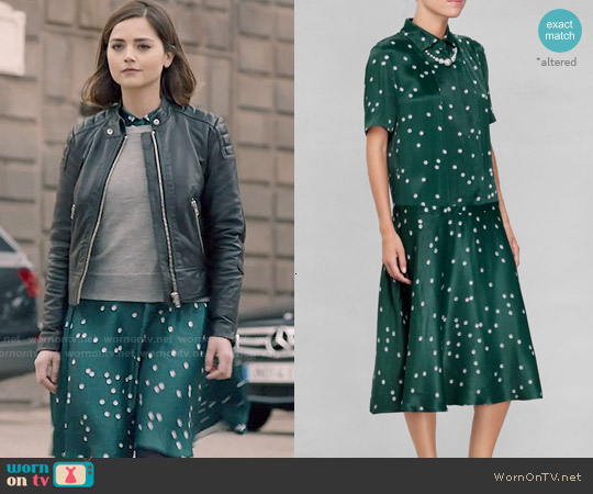 & Other Stories Pearl Print Collar Dress worn by Jenna Coleman on Doctor Who