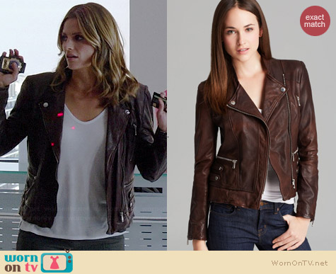 Andrew Marc Leandra Leather Jacket worn by Stana Katic on Castle