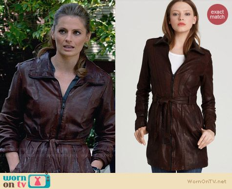 Andrew Marc Waxed Lamb Leather Belted Trench worn by Stana Katic on Castle