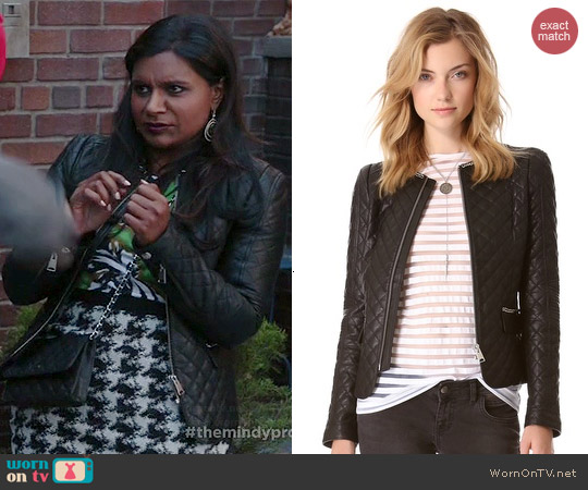 Anine Bing Quilted Leather Jacket worn by Mindy Kaling on The Mindy Project