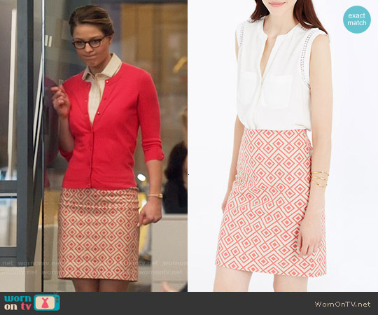 Ann Taylor Abstract Diamond Pencil Skirt worn by Melissa Benoist on Supergirl