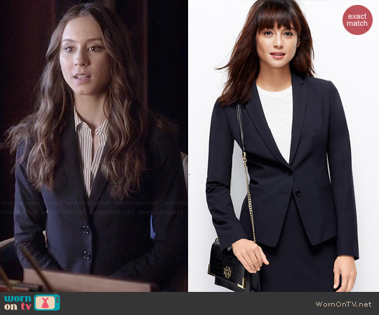 Ann Taylor All Season Two Button Blazer in Dark Sky worn by Troian Bellisario on PLL