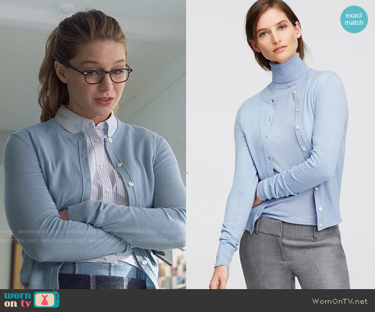 Ann Taylor Ann Cardigan in Blue worn by Melissa Benoist on Supergirl