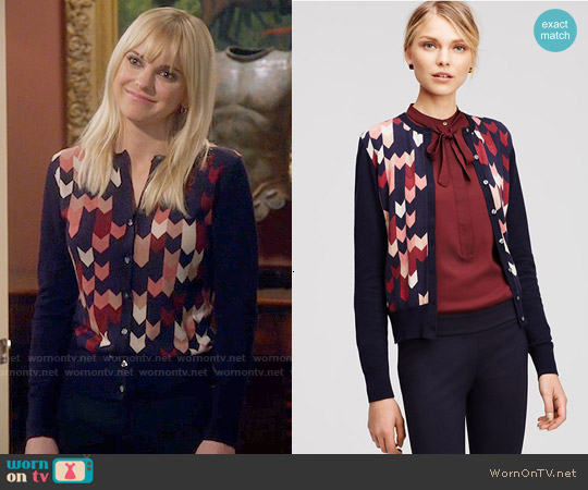 Ann Taylor Chevron Ann Cardigan worn by Anna Faris on Mom