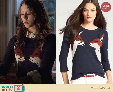 Ann Taylor Kissing Fox Sweater worn by Troian Bellisario on PLL