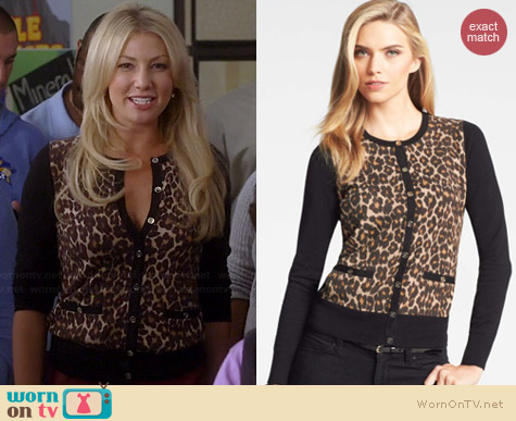 Ann Taylor Leopard Print Cardigan worn by Ari Graynor on Bad Teacher