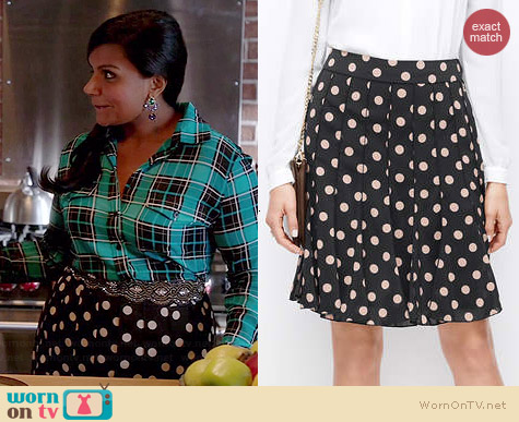 Ann Taylor Pleated Polka Dot Shirt worn by Mindy Kaling on The Mindy Project