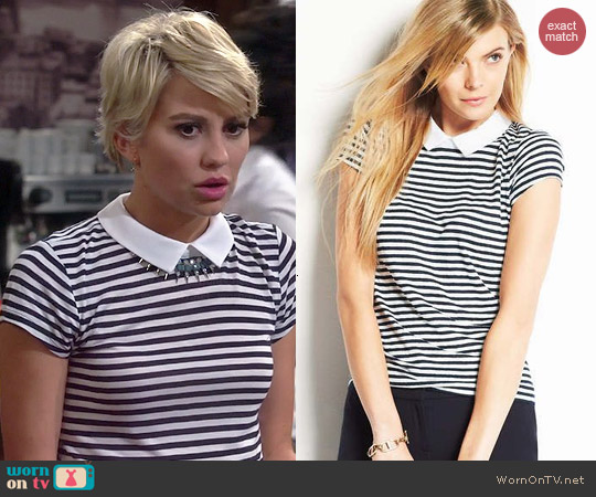 Ann Taylor Striped Collared Linen Top worn by Chelsea Kane on Baby Daddy