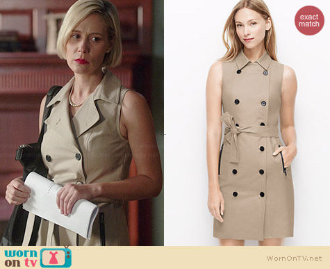 Ann Taylor Trench Dress worn by Liza Weil on HTGAWM